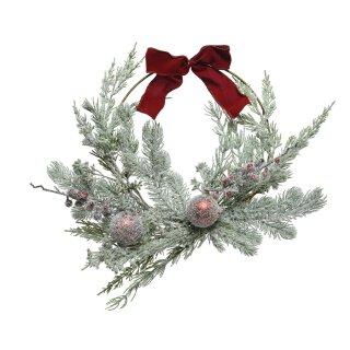 großer dekorativer weihnachtlicher Dekokranz Türkranz gefrostet mit Kunsttanne bruchsicheren Kugeln und Samtschleife komplett fertig dekoriert