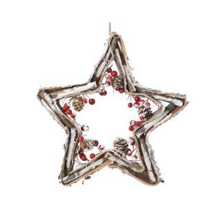 dekorativer weihnachtlicher Dekostern zum Hängen mit Naturzweigen Naturzapfen roten Beeren komplett fertig dekoriert in 2 möglichen Größen