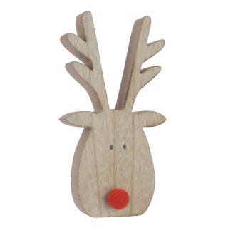 dekorative putzige herbstliche Tischdeko Elchkopf Rudolf aus Holz mit roter Plüschnase Preis für 2 Stück