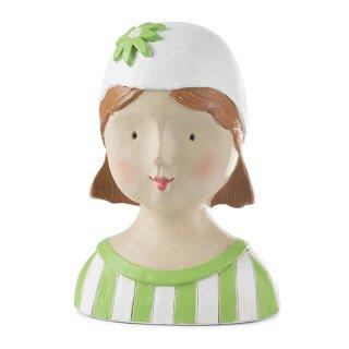 Ladykopf Deko-Kopf mit Streifen und Blumenkappe hellgrün