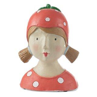 Ladykopf Deko-Kopf rot mit weißen Punkten