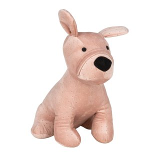dekorativer putziger Türstopper Türhalter als Hund in altrosa