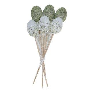 fröhlich glitzernde wetterfeste Kunststoff-Dekoeier als Oster-Stecker Garten-Stecker Blumen-Stecker in grün