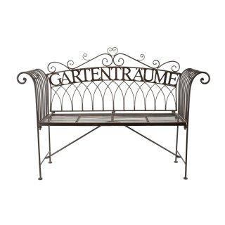dekorative ausgefallene Garten-Bank Sitz-Bank Gartenträume Metall dunkelbraun Landhaus-Stil nostalgisch