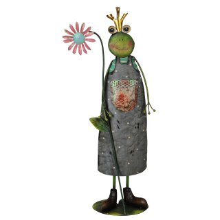 dekorative originelle Froschfigur Frosch als Gärtner Metall bemalt
