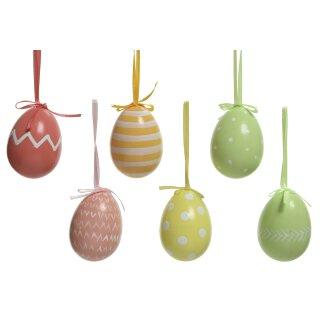 große ausgefallene wetterfeste Ostereier Kunststoff-Dekoeier Osterstrauchdeko pastellfarben Preis für 3 Stück