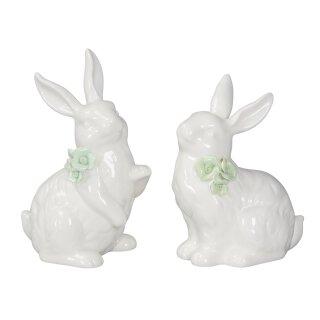 niedliche putzige Osterhasen Porzellan weiß mit hellgrüner Rose Preis für 2 Stück