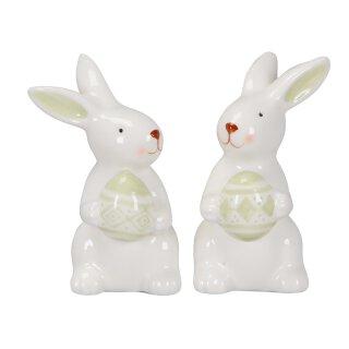 kleine niedliche putzige Mini Osterhasen Porzellan weiß mit hellgrünem Ei Preis für 2 Stück