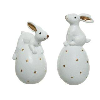 kleine niedliche putzige Mini Osterhasen auf gepunktetem Ei Polystone weiß-gold Preis für 2 Stück