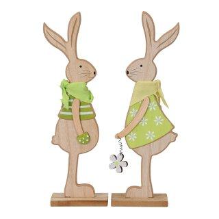 putzige große Osterhasen als Silhouette aus Holz braun-hellgrün Preis für 2 Stück Hasenjunge und Hasenmädchen