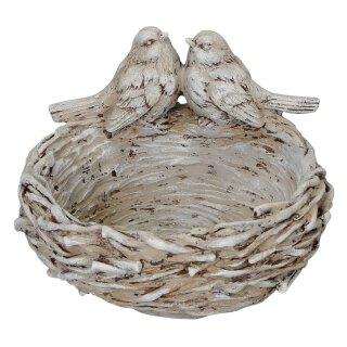 originelle dekorative runde kleine Vogeltränke oder Pflanzschale als Vogelnest mit 2 Vögelchen