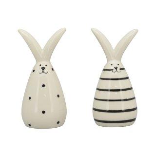 kleine niedliche putzige Mini Osterhasen als Ei Keramik cremeweiß-schwarz Preis für 4 Stück