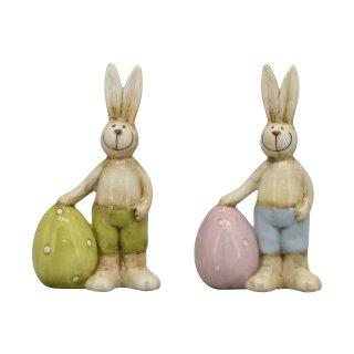 kleine niedliche putzige Mini Osterhasen mit Ei Keramik Preis für 2 Stück
