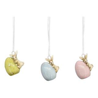 putzige Anhänger Osterhasen mit Ei als fröhliche Osterboten bemalte Keramik Preis für 3 Stück