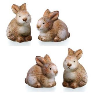 kleine niedliche putzige Mini Osterhasen Keramik bemalt Preis für 4 Stück