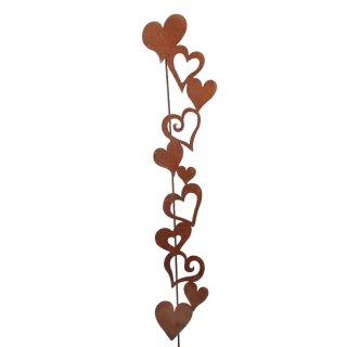 dekorativer Gartenstecker Herzen Herzgirlande Metall edelrostig