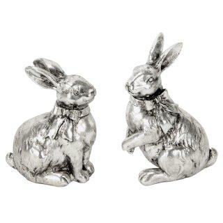 dekorative putzige Osterhasen als Tischdeko altsilber glänzend Preis für 2 Stück