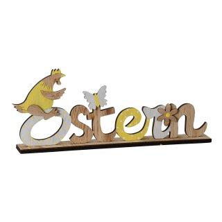 dekorativer Schriftzug Ostern mit Huhn Schmetterling und Blume als ausgefallene Osterdeko