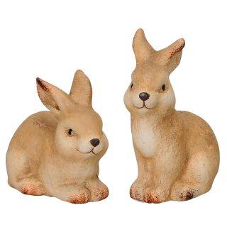 kleine niedliche putzige Osterhasen Keramik bemalt Preis für 2 Stück
