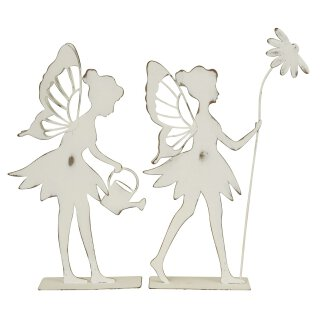 dekorative ausgefallene Deko-Figur Elfe Metall shabby weiß Preis für 2 Stück