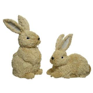 frühlingshafter putziger Deko-Hase Osterhase hockend oder liegend aus weicher Jutekordel Preis für 1 Stück