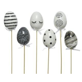 frühlingshafte Kunststoff-Dekoeier als Blumenstecker in schwarz weiß Preis für Set a 6 Stück