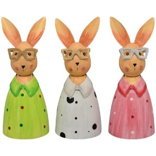 Zaunhocker Hase mit Brille Metall bemalt verschiedene Farben Preis für 1 Stück