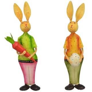 putziger bunter Osterhase mit Ei oder Möhre Metall von Hand bemalt Preis für 1 Stück