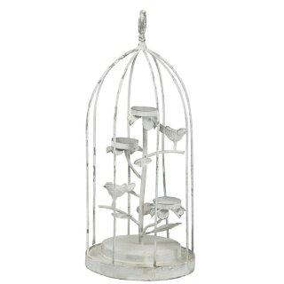dekorativer ausgefallener Vogelkäfig als Tischleuchter Metall shabby grauweiß