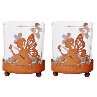 dekoratives Tisch-Windlicht Garten-Windlicht mit Elfe und Blümchen Preis für 2 Stück