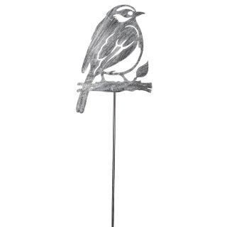 dekorativer Gartenstecker Silhouette Vogel auf Ast Metall schwarzgrau gebürstet