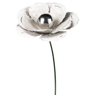 dekorativer Gartenstecker Blüte dreidimensional shabby weiß