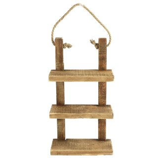 dekoratives Hängeregal Dekoregal mit 3 Böden grobes rustikales Holz braun im Landhaus-Stil
