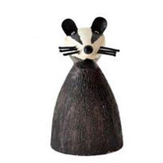 Zaunhocker süße schwarze Katze Metall bemalt