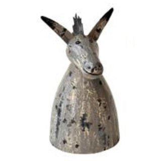 Zaunhocker Regalhocker Metallfigur süßer grauer Esel