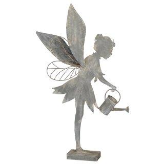 extra große dekorative ausgefallene Deko-Figur Elfe Metall shabby antikgrau