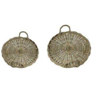 dekoratives grobes Tablett rund mit Griff im Landhaus-Stil in 2 verschiedenen Größen