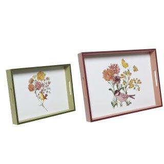dekoratives Tablett rechteckig mit dekorativem floralem Print und Vögelchen in 2 verschiedenen Größen