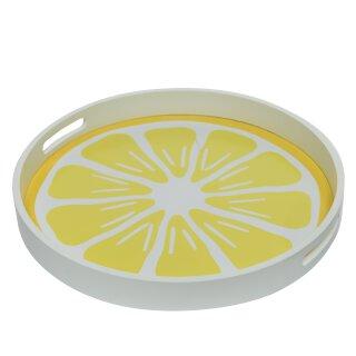 dekoratives sommerliches rundes Tablett mit Griffen Motiv Zitronenscheibe