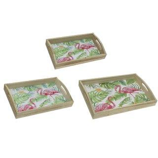 dekoratives Tablett rechteckig mit dekorativem Flamingo Print in 3 verschiedenen Größen