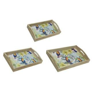 dekoratives Tablett rechteckig mit dekorativem Tucan Print in 3 verschiedenen Größen