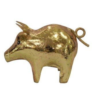 niedliches putziges goldfarbiges Mini Metallschwein als Dekofigur