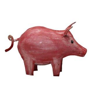 niedliches putziges rosafarbiges Mini Metallschwein als Dekofigur