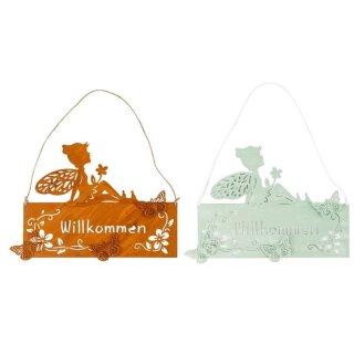 dekoratives nostalgisches Dekoschild Willkommen zum hängen Motiv Elfe Fee Blumenkind Metall in 2 möglichen Farben
