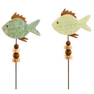 dekorativer maritimer Gartenstecker Fische Holz in 2 möglichen Farben
