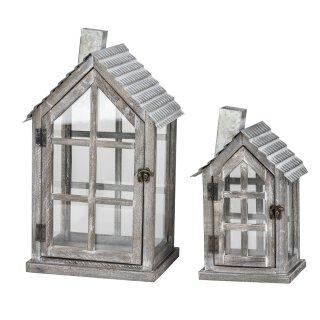 dekorative Gartenlaterne Tischlaterne Garten-Windlicht aus Holz shabby grau mit Metalldach in Haus-Form