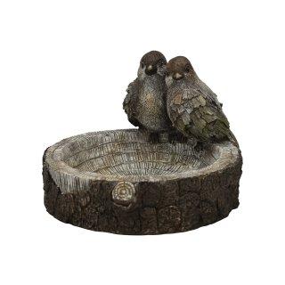 originelle dekorative runde Vogeltränke Vogelbad in Holzscheibenoptik mit 2 Vögelchen