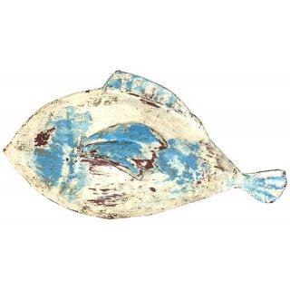 Metallfigur Dekofigur Fisch zum stellen in shabby weiß-blau in verschiedenen Größen