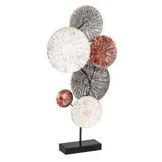 dekoratives filigranes Dekoobjekt zum stellen aus Metall schwarz-weiß-altrosa-gold