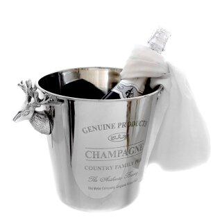 klassischer eleganter Champagnerkühler Sektkühler Flaschenkühler rund Edelstahl poliert mit Hirschköpfen